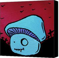 Mushroom Mixed Media Canvas Prints - Toothed Zombie Mushroom Canvas Print by Jera Sky