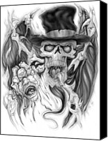 Tattoo Canvas Prints - Top Hat Canvas Print by Mike Royal