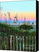 Julie Dant Canvas Prints - Topsail Island Dunes and Sand Fence Canvas Print by Julie Dant