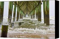 Topsail Canvas Prints - Topsail Island Pier Canvas Print by East Coast Barrier Islands Betsy A Cutler