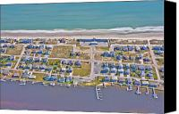 Topsail Island Canvas Prints - Topsail Island Sea Vista Motel Canvas Print by East Coast Barrier Islands Betsy A Cutler