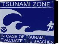 Topsail Island Canvas Prints - Topsail Islands Tsunami Zone Sign Canvas Print by East Coast Barrier Islands Betsy A Cutler