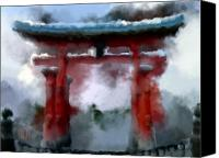 Miyajima Canvas Prints - Torii Canvas Print by Geoffrey C Lewis