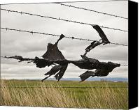 Garbage Canvas Prints - Torn Bags on a Barbed Wire Fence Canvas Print by Paul Edmondson