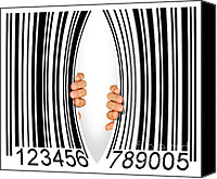 Shopping Canvas Prints - Torn Bar Code Canvas Print by Carlos Caetano