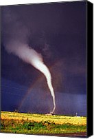 Tornado Canvas Prints - Tornado with Rainbow in Mulvane Kansas Canvas Print by Jason Politte