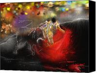 Torero Mixed Media Canvas Prints - Toroscape 18 Canvas Print by Miki De Goodaboom