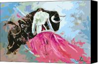 Torero Mixed Media Canvas Prints - Toroscape 34 Canvas Print by Miki De Goodaboom