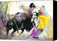 Torero Mixed Media Canvas Prints - Toroscape 39 Canvas Print by Miki De Goodaboom