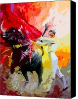 Torero Mixed Media Canvas Prints - Toroscape 41 Canvas Print by Miki De Goodaboom