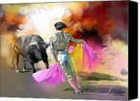 Torero Mixed Media Canvas Prints - Toroscape 43 Canvas Print by Miki De Goodaboom