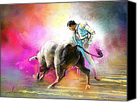 Torero Mixed Media Canvas Prints - Toroscape 44 Canvas Print by Miki De Goodaboom