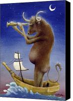 Humor. Painting Canvas Prints - Total Bull Ship... Canvas Print by Will Bullas