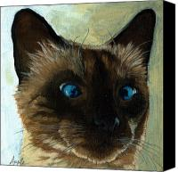 Linda Apple Canvas Prints - Totally Siamese - cat portrait oil painting Canvas Print by Linda Apple