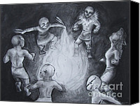 Bull Pastels Canvas Prints - Totem Dancers - Channeling the Spirits Canvas Print by Samantha Geernaert