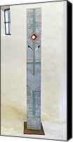 Figure Ceramics Canvas Prints - Totem Figure - Votiv Stele - Votive Stela - Ancestral Pole - Crusarder - Poste Antepassados  Canvas Print by Urft Valley Art