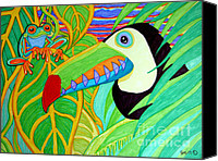 Red-eyed Frogs Canvas Prints - Toucan and Red Eyed Tree Frog Canvas Print by Nick Gustafson