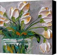 Impressionism Canvas Prints - Touch of Amber Tulips Canvas Print by Jan Ironside