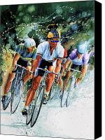 Action Sports Art Painting Canvas Prints - Tour de Force Canvas Print by Hanne Lore Koehler