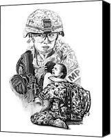 White Drawings Canvas Prints - Tour of Duty - Women in Combat LE Canvas Print by Peter Piatt