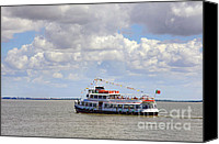 Waterway Canvas Prints - Touring Boat Canvas Print by Carlos Caetano