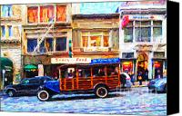 Powell Street Digital Art Canvas Prints - Touring The Streets of San Francisco Canvas Print by Wingsdomain Art and Photography