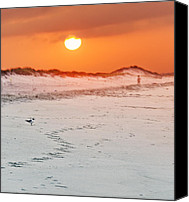 Beaches Reliefs Canvas Prints - Toward the Sunrise Canvas Print by Vicki Jauron