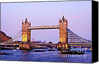 Flags Canvas Prints - Tower bridge in London at dusk Canvas Print by Elena Elisseeva