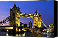 Walkway Canvas Prints - Tower bridge in London at night Canvas Print by Elena Elisseeva