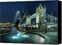 Statue Canvas Prints - Tower Bridge In London Canvas Print by Vulture Labs