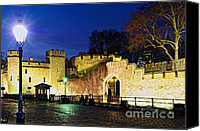 Lamppost Canvas Prints - Tower of London walls at night Canvas Print by Elena Elisseeva