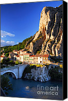 Setting Sun Canvas Prints - Town of Sisteron in Provence France Canvas Print by Elena Elisseeva