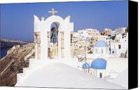 Thira Canvas Prints - Town of Thira Santorini Canvas Print by Jeremy Woodhouse