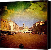 Featured Canvas Prints - Town Square #edit - #hvar, #croatia Canvas Print by Alan Khalfin