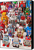 Miniature Canvas Prints - Toy robots Canvas Print by Garry Gay
