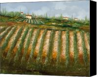 Vineyard Canvas Prints - Tra I Filari Nella Vigna Canvas Print by Guido Borelli