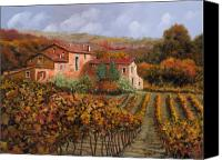 Farm Tapestries Textiles Canvas Prints - tra le vigne a Montalcino Canvas Print by Guido Borelli
