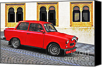Red Car Canvas Prints - Trabant Ostalgie Canvas Print by Christine Till