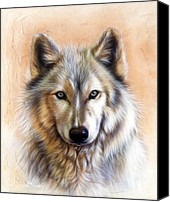 Wolf Painting Canvas Prints - Trace Two Canvas Print by Sandi Baker