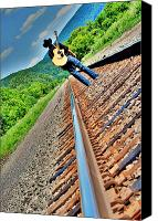 Music Photo Canvas Prints - Track Less Traveled Canvas Print by Emily Stauring