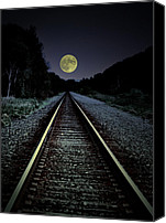 Full Moon Canvas Prints - Track To The Moon Canvas Print by Emily Stauring