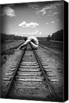 Photo-manipulation Canvas Prints - Tracks Canvas Print by Chance Manart