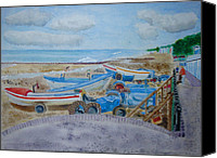 Norfolk Painting Canvas Prints - Tractors on Cromer Beach Canvas Print by Michelle Archer