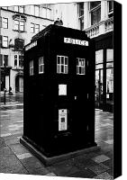 Tardis Canvas Prints - traditional blue police callbox in merchant city glasgow Scotland UK Canvas Print by Joe Fox