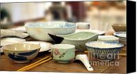 Wooden Bowls Canvas Prints - Traditional Chinese Dinner Table Canvas Print by Yali Shi