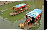 Junk Canvas Prints - Traffic in Qibao - Shanghais local ancient water town Canvas Print by Christine Till