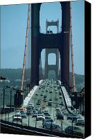 Sausalito Canvas Prints - Traffic on Golden Gate Bridge Canvas Print by Carl Purcell