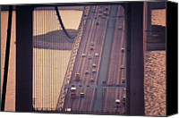 Hong Kong Canvas Prints - Traffic On Tsing Ma Bridge, Hong Kong, China Canvas Print by Yiu Yu Hoi