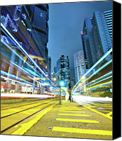 Long Street Canvas Prints - Traffic Trails In City Canvas Print by Leung Cho Pan