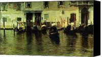 Gondoliers Canvas Prints - Traghetto della Maddalena Canvas Print by Giacomo Favretto